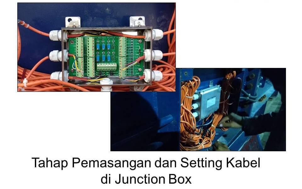 Tahap pemasangan junction box dan setting kabel listrik di timbangan truk