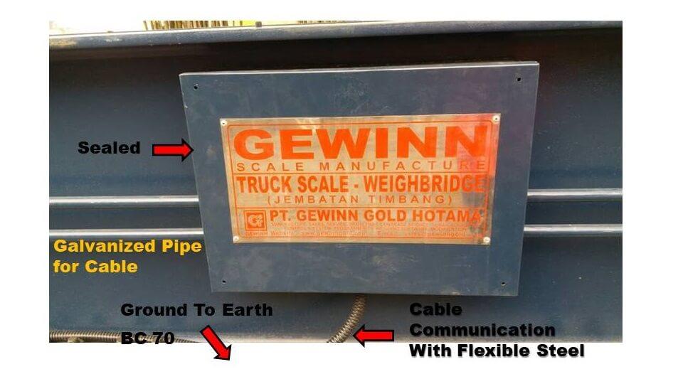 Gambar pemasangan kabel di timbangan truk