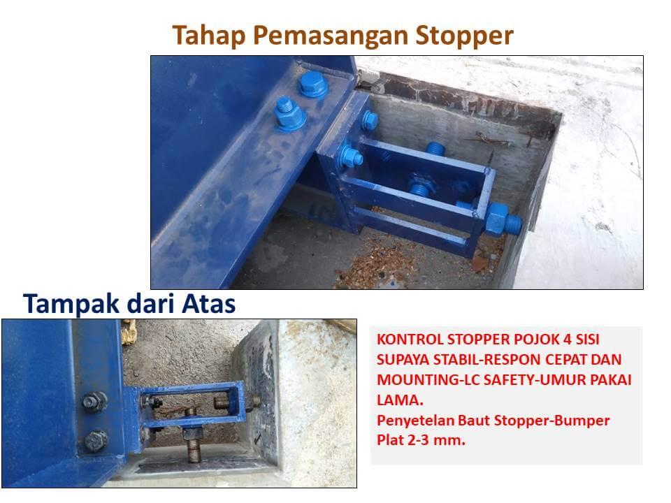 Tahap pemasangan stopper pada timbangan truck